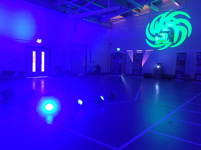 The LED light configuration proposed was able to bathe the entire school sports hall in any chosen colour
